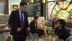 Aaron Brennan, Angus Beaumont-Hannay, David Tanaka in Neighbours Episode 7500