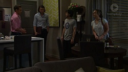 Aaron Brennan, Leo Tanaka, David Tanaka, Amy Williams in Neighbours Episode 7512