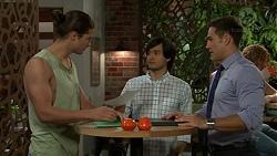 Tyler Brennan, David Tanaka, Aaron Brennan in Neighbours Episode 7518