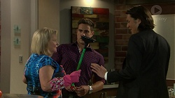 Sheila Canning, Aaron Brennan, Leo Tanaka in Neighbours Episode 7522