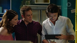 Elly Conway, Aaron Brennan, Leo Tanaka in Neighbours Episode 7524