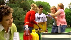 Lyn Scully, Janelle Timmins, Stingray Timmins, Janae Timmins, Bree Timmins in Neighbours Episode 4749