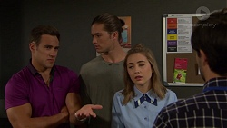 Aaron Brennan, Tyler Brennan, Piper Willis, David Tanaka in Neighbours Episode 7558