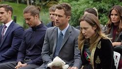 Aaron Brennan, Tyler Brennan, Gary Canning, Mark Brennan, Sonya Mitchell, Elly Conway in Neighbours Episode 7567