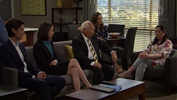 Leo Tanaka, Jasmine Udagawa, Mr Udagawa, Amy Williams, Kim Taylor in Neighbours Episode 7569