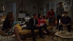 Amy Williams, Paul Robinson, Kim Tanaka, Aaron Brennan, Leo Tanaka, David Tanaka in Neighbours Episode 7573