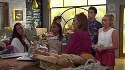 Yashvi Rebecchi, Kirsha Rebecchi, Piper Willis, Ben Kirk, Xanthe Canning in Neighbours Episode 7587