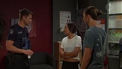Mark Brennan, Mishti Sharma, Tyler Brennan in Neighbours Episode 7592