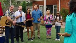 Karl Kennedy, Toadie Rebecchi, Mishti Sharma, Shane Rebecchi, Sheila Canning, Kirsha Rebecchi, Dipi Rebecchi in Neighbours Episode 7595