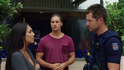 Mishti Sharma, Tyler Brennan, Mark Brennan in Neighbours Episode 7597