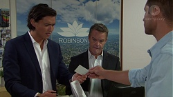 Leo Tanaka, Paul Robinson, Mark Brennan in Neighbours Episode 7619