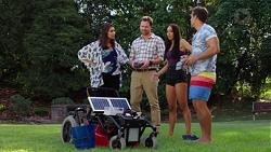 Dipi Rebecchi, Shane Rebecchi, Mishti Sharma, Aaron Brennan in Neighbours Episode 7625