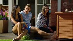 Mishti Sharma, Aaron Brennan, Dipi Rebecchi in Neighbours Episode 7625