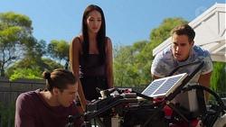 Tyler Brennan, Mishti Sharma, Aaron Brennan in Neighbours Episode 7625