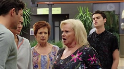 Finn Kelly, Elly Conway, Susan Kennedy, Sheila Canning, Ben Kirk in Neighbours Episode 7628