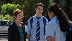 Susan Kennedy, Ben Kirk, Yashvi Rebecchi in Neighbours Episode 7628
