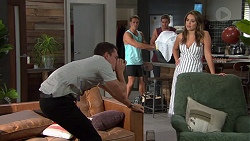 Jack Callaghan, Aaron Brennan, Tyler Brennan, Paige Novak in Neighbours Episode 7630