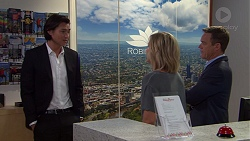 Leo Tanaka, Steph Scully, Paul Robinson in Neighbours Episode 7632