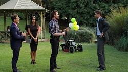 Aaron Brennan, Mishti Sharma, Shane Rebecchi, Charles Diaz in Neighbours Episode 7634