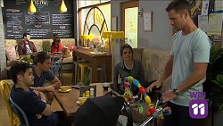 David Tanaka, Tyler Brennan, Paige Novak, Mark Brennan in Neighbours Episode 7644