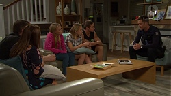 Gary Canning, Terese Willis, Xanthe Canning, Piper Willis, Tyler Brennan, Mark Brennan in Neighbours Episode 7652