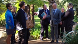 Aaron Brennan, Steph Scully, Jack Callaghan, Sonya Mitchell, Councillor Simmons, Tim Collins in Neighbours Episode 7660