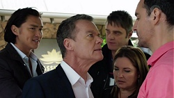 Leo Tanaka, Paul Robinson, Gary Canning, Terese Willis, Nick Petrides in Neighbours Episode 7662