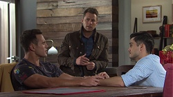 Aaron Brennan, Mark Brennan, David Tanaka in Neighbours Episode 7668