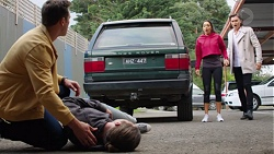 Aaron Brennan, Tyler Brennan, Mishti Sharma, Leo Tanaka in Neighbours Episode 7668