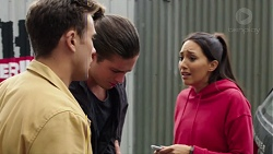 Aaron Brennan, Tyler Brennan, Mishti Sharma in Neighbours Episode 7668
