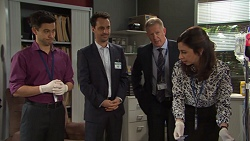 David Tanaka, Nick Petrides, Clive Gibbons, Dr Harriet Barnes in Neighbours Episode 7670