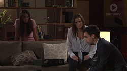 Mishti Sharma, Amy Williams, Nick Petrides in Neighbours Episode 7672