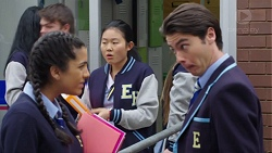 Yashvi Rebecchi, Li-Kim Chen, Ben Kirk in Neighbours Episode 7673