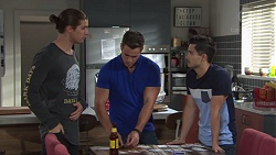 Tyler Brennan, Aaron Brennan, David Tanaka in Neighbours Episode 7679