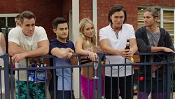 Aaron Brennan, David Tanaka, Courtney Grixti, Leo Tanaka, Tyler Brennan in Neighbours Episode 7679