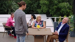 Tyler Brennan, Sheila Canning, Hamish Roche in Neighbours Episode 7683