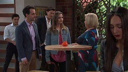 David Tanaka, Nick Petrides, Leo Tanaka, Amy Williams, Sheila Canning, Mishti Sharma in Neighbours Episode 7685