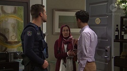 Mark Brennan, Sara Khan, Nick Petrides in Neighbours Episode 7685