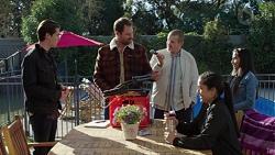 Ben Kirk, Shane Rebecchi, Toadie Rebecchi, Yashvi Rebecchi, Kirsha Rebecchi in Neighbours Episode 7695