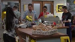 Yashvi Rebecchi, Shane Rebecchi, Dipi Rebecchi, Ben Kirk in Neighbours Episode 7696