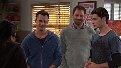 Yashvi Rebecchi, Jack Callaghan, Shane Rebecchi, Ben Kirk in Neighbours Episode 7700