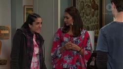 Yashvi Rebecchi, Dipi Rebecchi, Ben Kirk in Neighbours Episode 7700