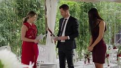 Paige Novak, Mark Brennan, Mishti Sharma in Neighbours Episode 7707
