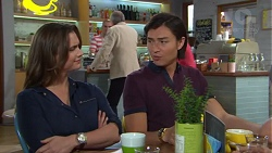 Amy Williams, Hamish Roche, Leo Tanaka in Neighbours Episode 7716