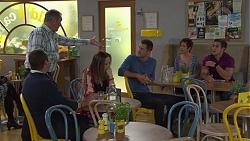 Toadie Rebecchi, Karl Kennedy, Sonya Mitchell, Mark Brennan, Susan Kennedy, Aaron Brennan in Neighbours Episode 7718