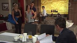 Courtney Grixti, Mishti Sharma, Leo Tanaka, David Tanaka, Paul Robinson in Neighbours Episode 7724