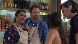 Dipi Rebecchi, Shane Rebecchi, Mishti Sharma, Leo Tanaka in Neighbours Episode 7724
